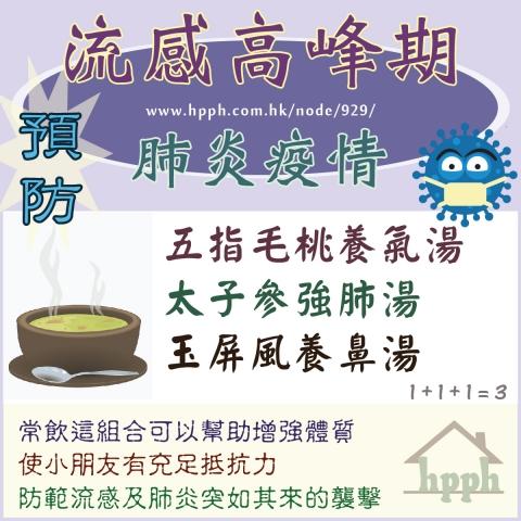 小朋友預防流感及肺炎又增強抵抗力飲玉屏風養鼻湯和太子參強肺湯